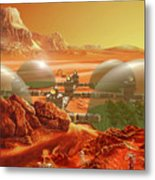 Mars Colony Metal Print by Don Dixon