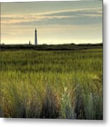 Marsh Grass And Morris Island Lighthouse Metal Print