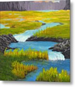 Marsh River Original Painting Metal Print