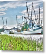 Marsh View Shrimp Boats Metal Print
