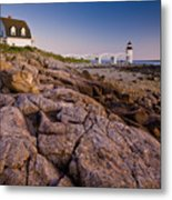 Marshal Point Light Sunset Metal Print by Susan Cole Kelly