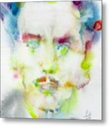 Marshall Mcluhan - Watercolor Portrait Metal Print