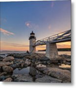 Marshall Point Lighthouse Reflections Metal Print