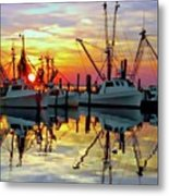 Marshallberg Harbor Sunset Metal Print