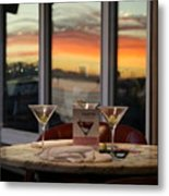 Martini At Sunset Metal Print