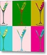 Martini Pop Art Panels Metal Print