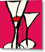 Martini With Pink Background Metal Print