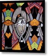 Maruvian Silver Mask Metal Print