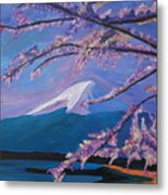 Marvellous Mount Fuji With Cherry Blossom In Japan Metal Print