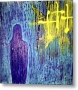 Mary And The Crosses Metal Print