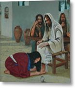 Mary Anoints The Feet Of Jesus Metal Print