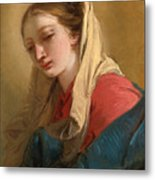 Mary Magdalene In Three-quarter View Veiled In A White Cloth Metal Print