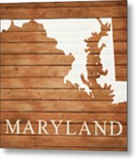 Maryland Rustic Map On Wood Metal Print
