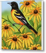 Maryland State Bird Oriole And Daisy Flower Metal Print by Crista Forest