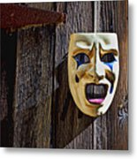 Mask On Barn Door Metal Print