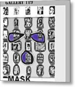 Mask Post Card Metal Print