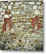 masonry Locked windows on the stone wall Metal Print