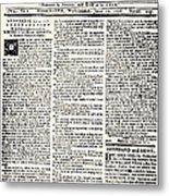 Massachusetts Spy, 1776 Metal Print