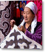 Master Of Kyrgyz National Carpet - Shyrdak  Metal Print