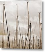 Masts In Sepia Metal Print