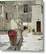Matera With Flowers Metal Print