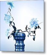 Math Flowers In Blue 1 Metal Print by GuoJun Pan