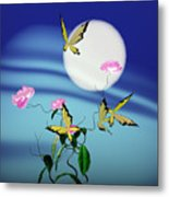 Math Peony And Butterfly Metal Print by GuoJun Pan