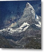 Matterhorn In Starry Night Metal Print