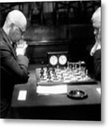Mature Men Playing Chess, Profile (b&w) Metal Print by Hulton Archive