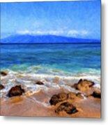 Maui Beach And View Of Lanai Metal Print