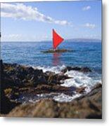 Maui Sailing Canoe Metal Print