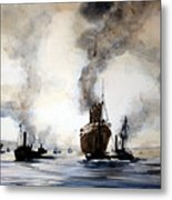 Mauritania Leaving River Tyne 1907. Metal Print