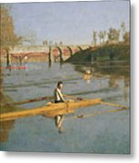 Max Schmitt In A Single Scull Metal Print by Thomas Cowperthwait Eakins
