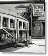 Max's Diner New Jersey Black And White Metal Print