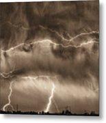 May Showers - Lightning Thunderstorm Sepia Hdr Metal Print