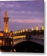 Bridge Of Alexandre IIi At Night Metal Print
