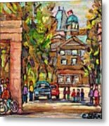 Mcgill Gates  Entrance Of Mcgill University Montreal Quebec Original Oil Painting Carole Spandau Metal Print