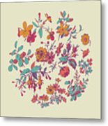 Meadow Flower And Leaf Wreath Isolated On Beige, Circle Doodle F Metal Print