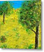 Meadow With Trees Metal Print