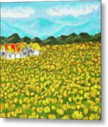 Meadow With Yellow Dandelions, Oil Painting Metal Print