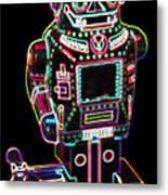 Mechanical Mighty Sparking Robot Metal Print