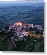 Medieval Hilltop Village Of Smartno Brda Slovenia At Dawn In The Metal Print