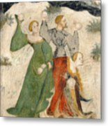 Medieval Snowball Fight Metal Print