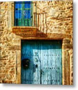 Medieval Spanish Gate And Balcony - Vintage Version Metal Print