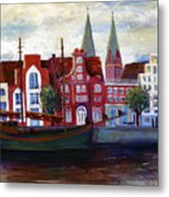 Medieval Town In Lubeck Germany Metal Print