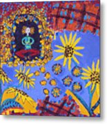 Meditating Master With Sunflowers Metal Print