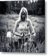 Meditation Meadow Bw Background Metal Print