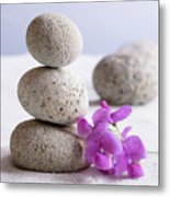 Meditation Stones Pink Flowers On White Sand Metal Print
