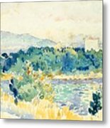 Mediterranean Landscape With A White House Metal Print
