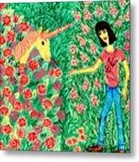 Meeting In The Rose Garden Metal Print by Sushila Burgess